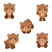 Set of cute cartoon bears in modern simple flat style. Vector illustration isolated on white background.