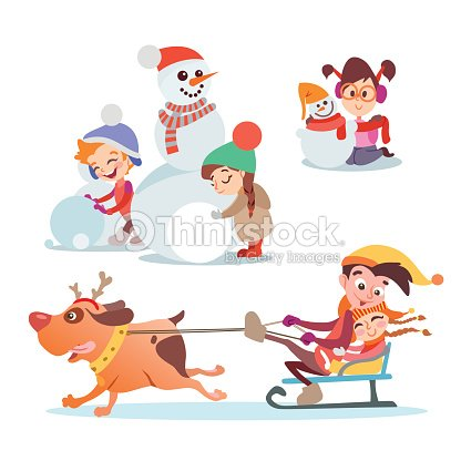 5c54a29d46c3 Set Of Cute Cartoon Boys And Girls Playing In Winter Vector Art ...