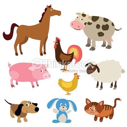Set of cute cartoon farm animals