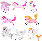 Vector illustration of Set of cute cartoon unicorns isolated on a white background