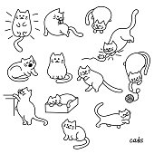 Set of Cute cat. Pet animal vector illustration.