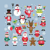 Set of cute christmas characters for graphic and web design