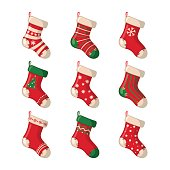 Set of cute Christmas socks isolated on white background. Vector illustration.
