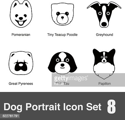 set of cute dog face icons vector illustration vector art
