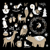 Set of cute doodle sketches. Christmas clip-arts of bear, bunny, reindeer, fox, owl, squirrel and snowman, Scandinavian design. Isolated hand drawn vector objects on black background.