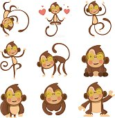 Set of cute funny monkeys in a cartoon style.