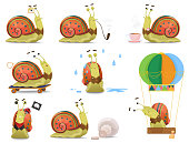 Set of cute gentleman snail in waistcoat as vector illustration