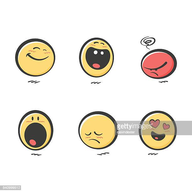 Set of cute hand drawn color emoticons reactions
