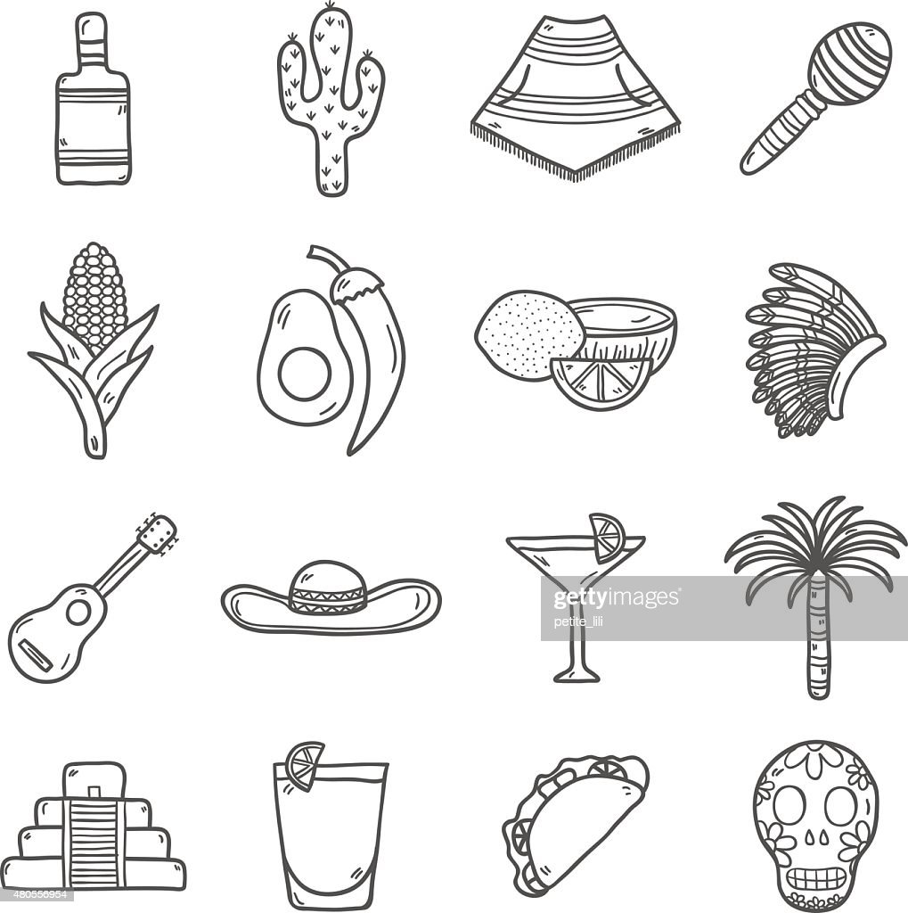 Set of cute hand drawn outline icons on Mexico theme : Vector Art