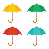 Set of cute multicolor umbrellas