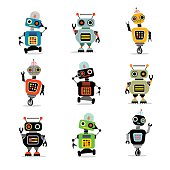 set of retro robots to use in your designs for greeting cards, kids t-shirts, stickers, website