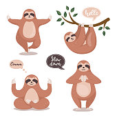 Set of cute sloths hanging on the tree and do yoga. Cartoon funny sloth collection. Vector clipart