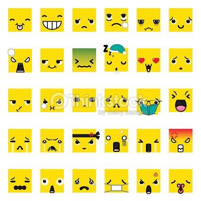 Set Of Cute Smiley Emoticons Emoji Flat Design Vector Art Thinkstock