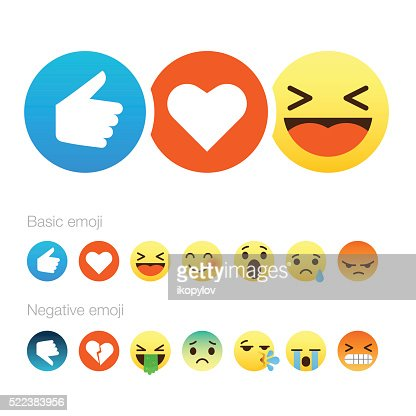 Set of cute smiley emoticons, flat design : stock vector
