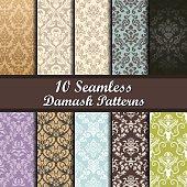 Set of Ten Damask Seamless Patterns design
