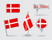 Set of Danish pin, icon and map pointer flags. Vector illustration.