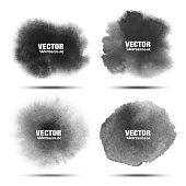 Set of Dark gray black watercolor vector circle stains isolated on white background with realistic paper watercolor texture. Aquarelle grey vibrant spots. Blur light wash drawing oval design elements