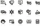 Monochromatic E-commerce related vector icons for your design and application. Raw style. Files included: vector EPS, JPG, PNG and icons with euro (€) symbol.