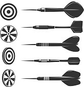 Set of darts for darts game isolated on white background. Design elements for label, emblem, sign, brand mark. Vector illustration.