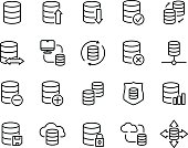 Set of database icons in modern thin line style. High quality black outline backup symbols for web site design and mobile apps. Simple linear data transfer pictograms on a white background.