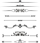 Set of decorative monograms for text, patterned stripes isolated on white background in vector