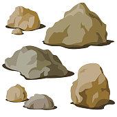 Set of decorative stones of different shapes. Garden stones for landscape design. Vector illustration.