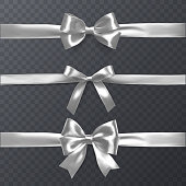 Set of decorative white bows with horizontal ribbon isolated on transparent background, bow and ribbon for gift decor, vector eps 10 illustration