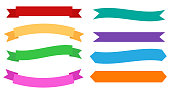 Set of design banners colorful ribbons on white background - Vector illustration