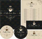 Vector set of design elements for coffee house with cup, crown and handwritten inscriptions. Menu, business cards and coasters for drinks in baroque style on ornate backdrop with floral pattern