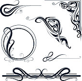 Set of six design elements in Art Nouveau and Art Deco style
