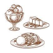 Set of desserts. Ice cream, cheesecake,  apple strudel. Isolated on white background. Hand drawn vector illustration. Retro style.