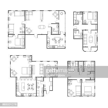 Ensemble de plans d'étage de différentes maison noir et blanc avec des détails intérieurs isolés sur blanc : Clipart vectoriel