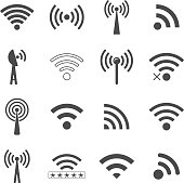 set of different black wifi icons, concept of communication and remote access. isolated on white background. vector illustration