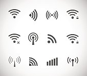 Set of different black vector wireless and wifi icons for remote access and communication via radio waves