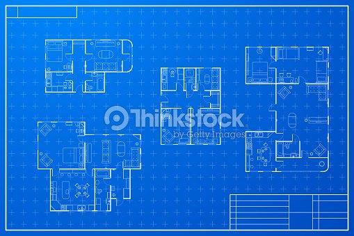 Set of different blueprint house plans vector art thinkstock set of different blueprint house plans vector art malvernweather Gallery