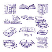 Set of different books. Hand drawn vector sketch. Doodle illustrations isolate on white. Book doodle sketch, literature for library and education