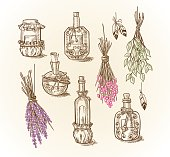 Set of different bottles and cans magic potions and liquids to the magic of cooking or kitchen design with dried flowers and feathers