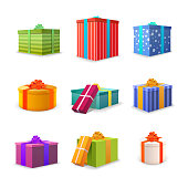 Set of different colourful bright gift boxes with tapes and bows isolated on white