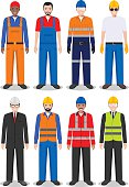Professional people concept. Set of different detailed illustration of worker, builder and engineer in flat style on white background. Detailed illustration of worker, builder and engineer in flat sty