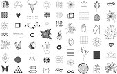 Trendy hipster symbols. Ethnic patterns. Geometric, alchemy, decor items. Vector.