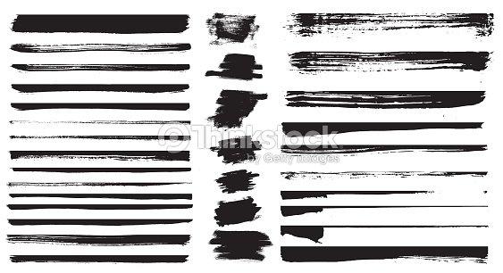 Set of different grunge brush strokes. Set of grunge dividers. : stock vector