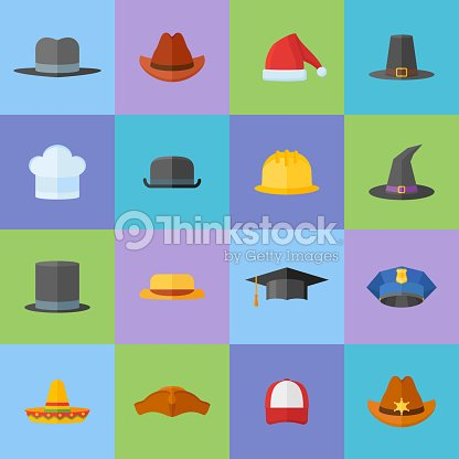 5251be9abb415 Set Of Different Hats Flat Style Icons Vector Art | Thinkstock