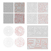 Set of different labyrinths with solutions isolated on white