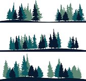 set of different silhouettes of landscape with fir-trees, vector illustration