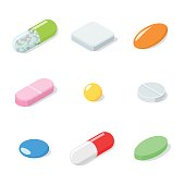 Set of different medical pills, tablets, capsules. Pills isolated on white background. Isometric vector illustration