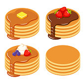 Set of pancakes with different toppings: honey and butter, chocolate syrup and fruit, and a stack of plain isolated pancakes. Traditional breakfast food vector illustration.