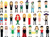 Set of different pixel art characters isolated on white. Vector illustration. People icons.