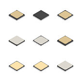 Set of processors of different shapes isolated on white background. Elements design of electronic components. Flat 3D isometric style, vector illustration.
