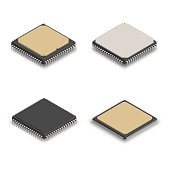 Set of processors of different shapes isolated on white background. Elements design of electronic components. 3D isometric style, vector illustration.
