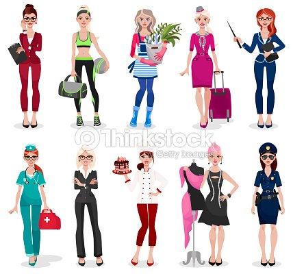 Set of different professions: doctor, teacher, fashion designer, florist, police officer, businesswoman, chef, stewardess, fitness trainer, secretary.